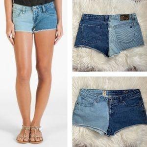 3/$20 Volcom Two Tone Denim Cut Off Shorts
